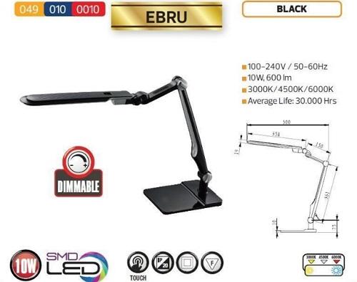 Lampa birou LED Ebru, culoare neagra - Schema