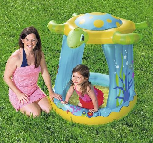 Piscina gonflabila pentru copii Bestway cu parasolar broasca testoasa