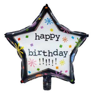 Balon Stea Happy Birthday, 45cm