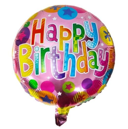 Balon Aniversar Happy Birthday, 45cm, Folie de Aluminiu