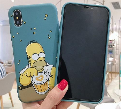 Husa Telefon iPhone 7Plus, 8Plus Silicon - Homer Simpson si Halba de Bere