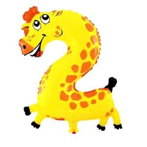 Balon Cifra 2 Girafa Heliu pentru Petrecere Ziua Copilului