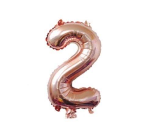 Balon mare cifra 2, 101cm, rose-gold, heliu sau aer