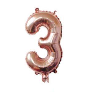 Balon petrecere aniversara cifra 3, 101cm, rose-gold, heliu sau aer, folie aluminiu