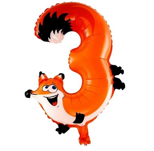 Balon Cifra 3 Vulpe pentru Petrecere Ziua Copilului