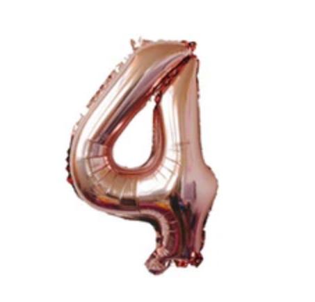 Balon mare cifra 4, 101cm, rose-gold