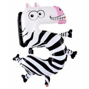 Balon Cifra 5 Zebra Heliu pentru Petrecere Ziua Copilului