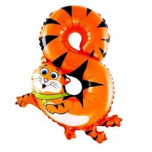 Balon Cifra 8 Pisica Heliu pentru Petrecere Ziua Copilului