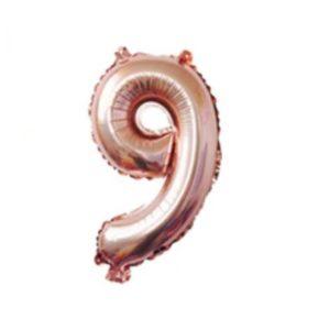 Balon mare cifra 9, 101cm, rose-gold, heliu sau aer
