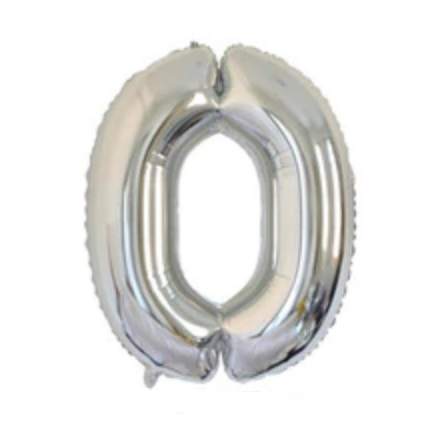 Balon cu Heliu Mare Cifra 0, 75cm, Argintiu