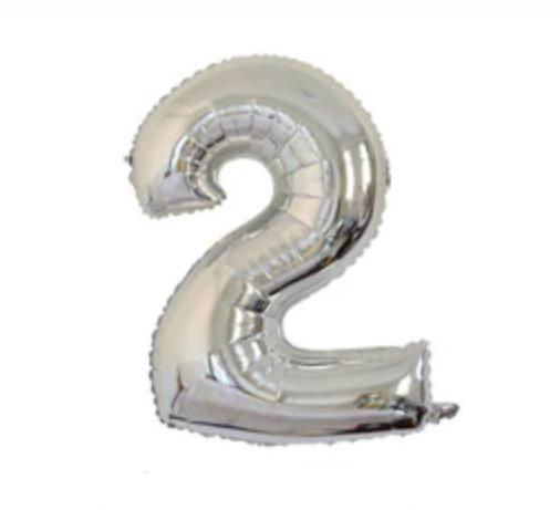 Balon cu Heliu Mare Cifra 2, 75cm, Argintiu
