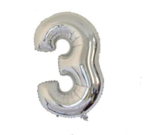 Balon cu Heliu Mare Cifra 3, 75cm, Argintiu