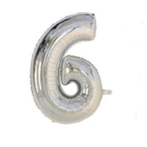 Balon cu Heliu Mare Cifra 6, 75cm, Argintiu