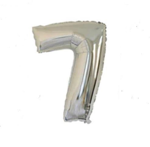 Balon cu Heliu Mare Cifra 7, 75cm, Argintiu