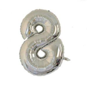 Balon cu Heliu Mare Cifra 8, 75cm, Argintiu