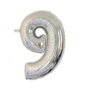Balon cu Heliu Mare Cifra 9, 75cm, Argintiu
