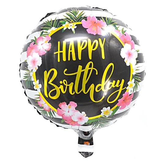 Balon Heliu folie aluminiu Happy Birthday flori, 44cm