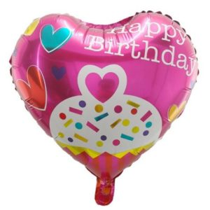 Balon Party Heliu in Forma de Inima 45cm - Happy Birthday