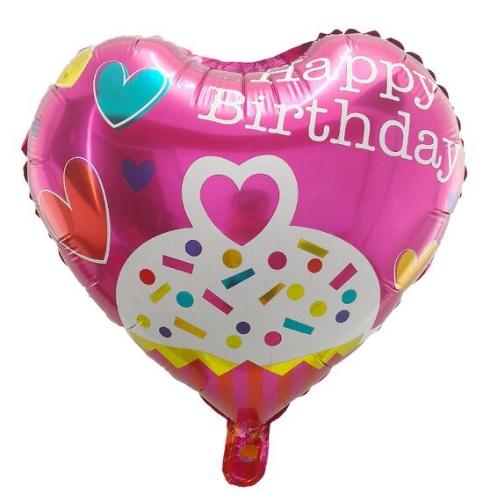 Balon Party Heliu in Forma de Inima 45cm - Happy Birthday