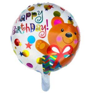 Balon Heliu Happy Birthday - Ursulet cu Cadou