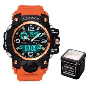 Ceas Barbatesc Sport Boamigo portocaliu + Cutie Waterproof