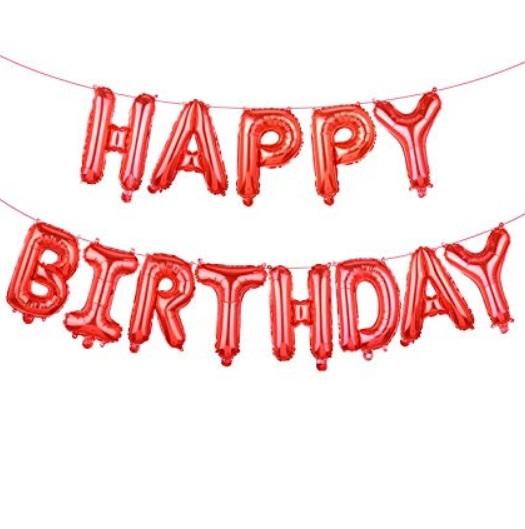 Set Baloane Litere Happy Birthday Rosii