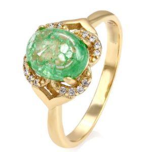 Inel vintage, placat cu aur de 14K - Piatra Verde