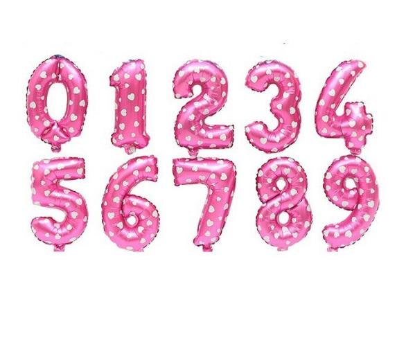 Baloane cu cifre - Culoare roz - Baloane Varsta