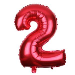 Balon Rosu Cifra 2, 45cm, Heliu sau Aer