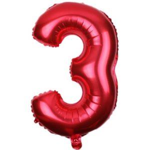 Balon Rosu Cifra 3, 45cm, heliu sau aer