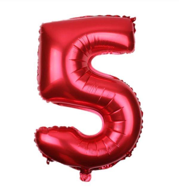 Balon Rosu Cifra 5, 45cm, heliu sau aer