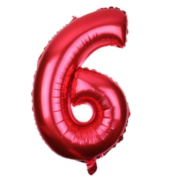 Balon Rosu Cifra 6, 46cm, heliu sau aer