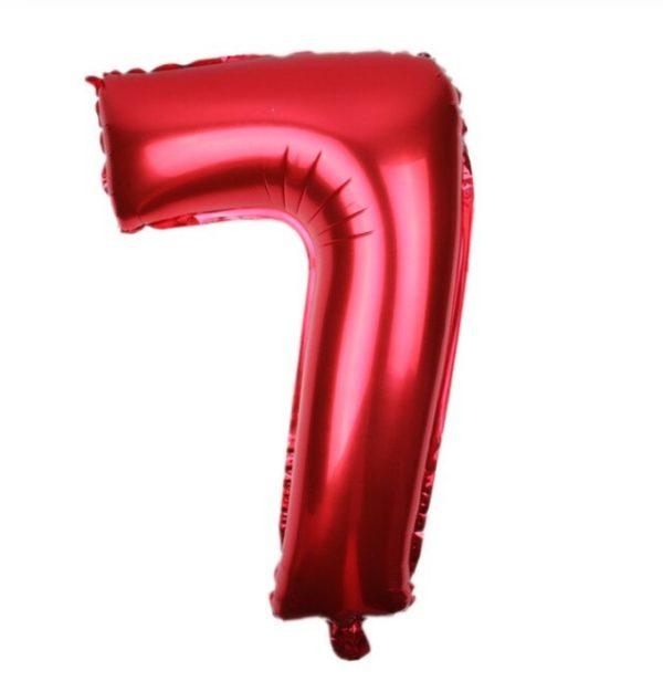 Balon Rosu Cifra 7, 43cm, heliu sau aer