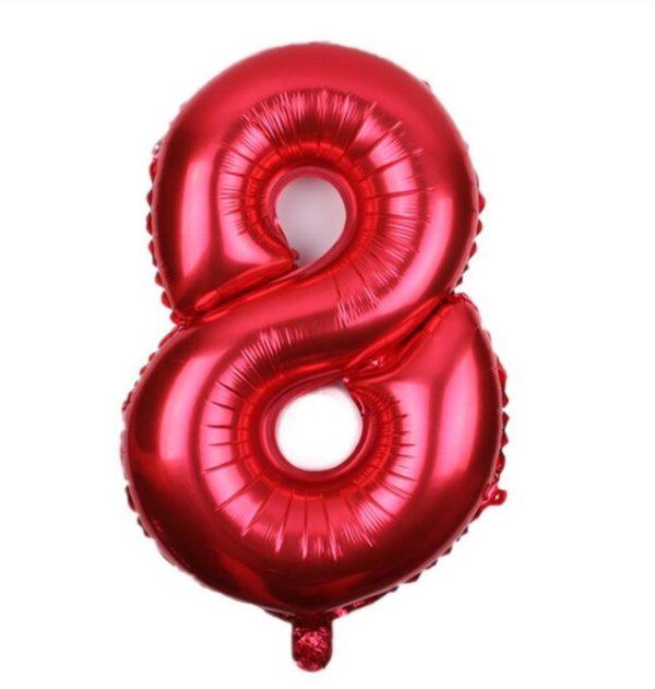 Balon Rosu Cifra 8, 44cm, heliu sau aer