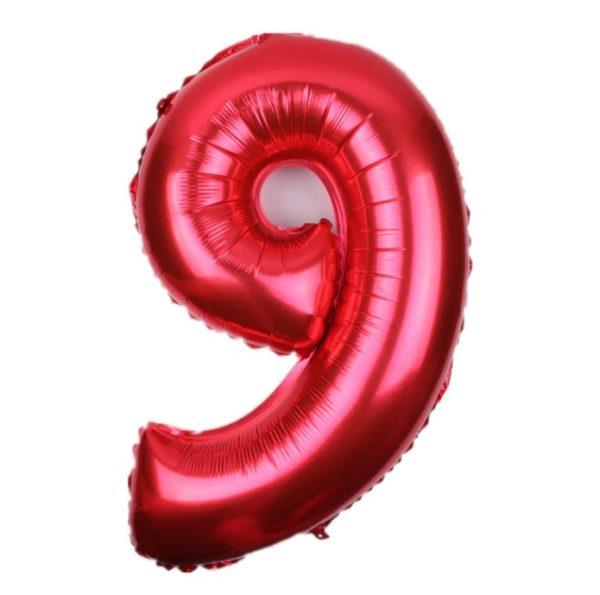 Balon Rosu Cifra 9, 46cm, heliu sau aer