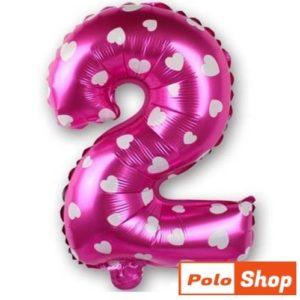 Balon Cifra 2, 44cm, roz cu inimi