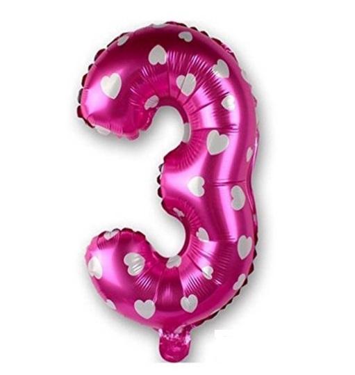Balon Cifra 3, 44cm, roz cu inimi, heliu sau aer