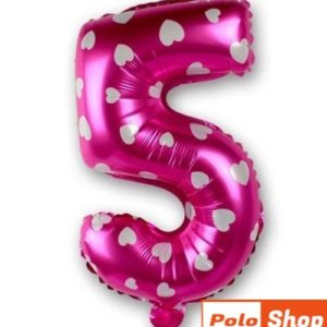 Balon Cifra 5, 44cm, roz cu inimi