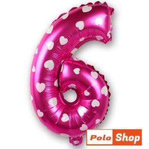 Balon Cifra 6, 44cm, roz cu inimi