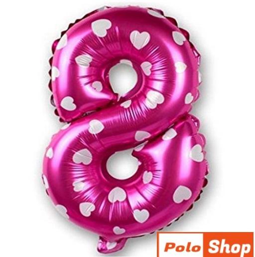 Balon Cifra 8, 45cm, roz cu inimi