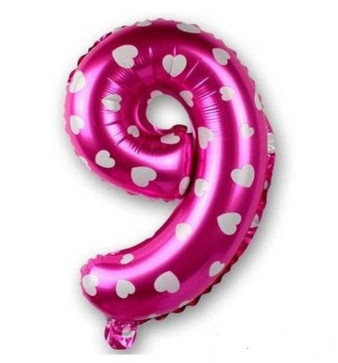 Balon Cifra 9, 45cm, roz cu inimi