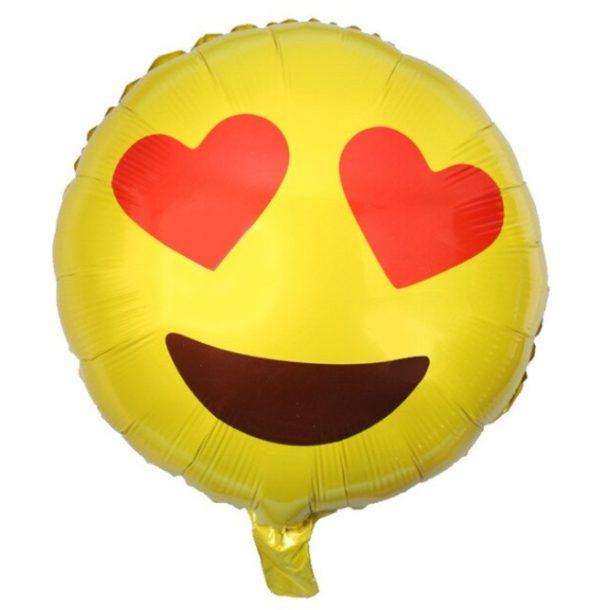 Balon Rotund Emoticon Smiley cu Ochi din Inimi, Heliu sau Aer