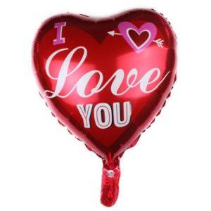 Balon Heliu in Forma de Inima, Mesaj I Love You, Sf. Valentin, Dragobete, etc.