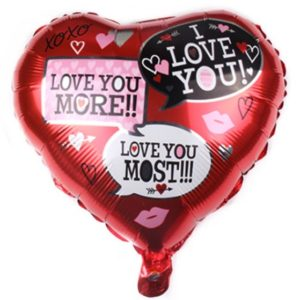 Baloane cu Heliu - Balon in Forma de Inima cu mesaje de dragoste, 44cm