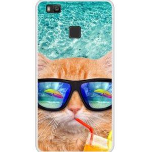 Huse imprimate - Husa Telefon Huawei P9 Lite - Pisica cu ochelari de soare