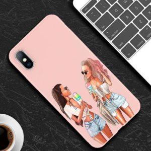 Husa Telefon iPhone 6 / iPhone 6s, culoare Roz, Fete care mananca inghetata