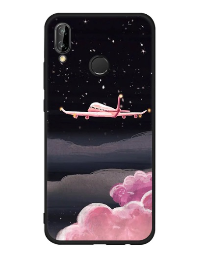 Husa Telefon Huawei P10 Lite, culoare neagra, avion si nori roz