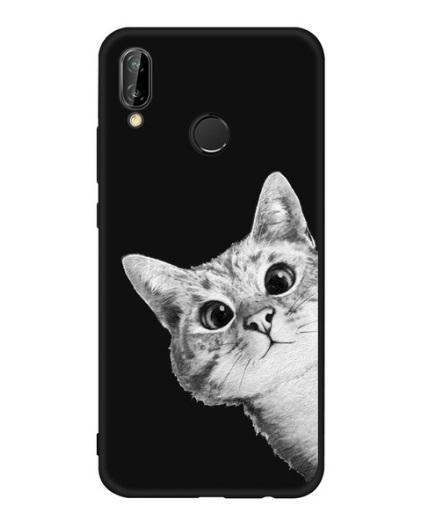 Husa Telefon Huawei P10 Lite, culoare neagra, imagine pisica amuzanta