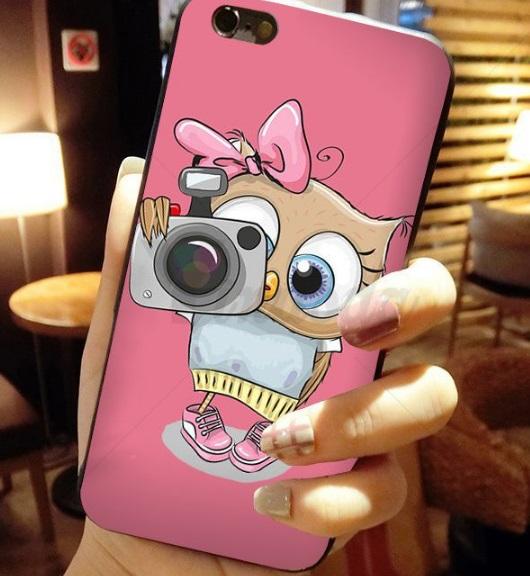 Husa Telefon iPhone 6 / iPhone 6s, culoare roz, bufnita cu aparat foto