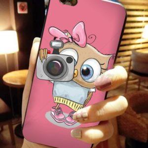 Husa Telefon iPhone 7 / iPhone 8, culoare roz, bufnita cu aparat foto